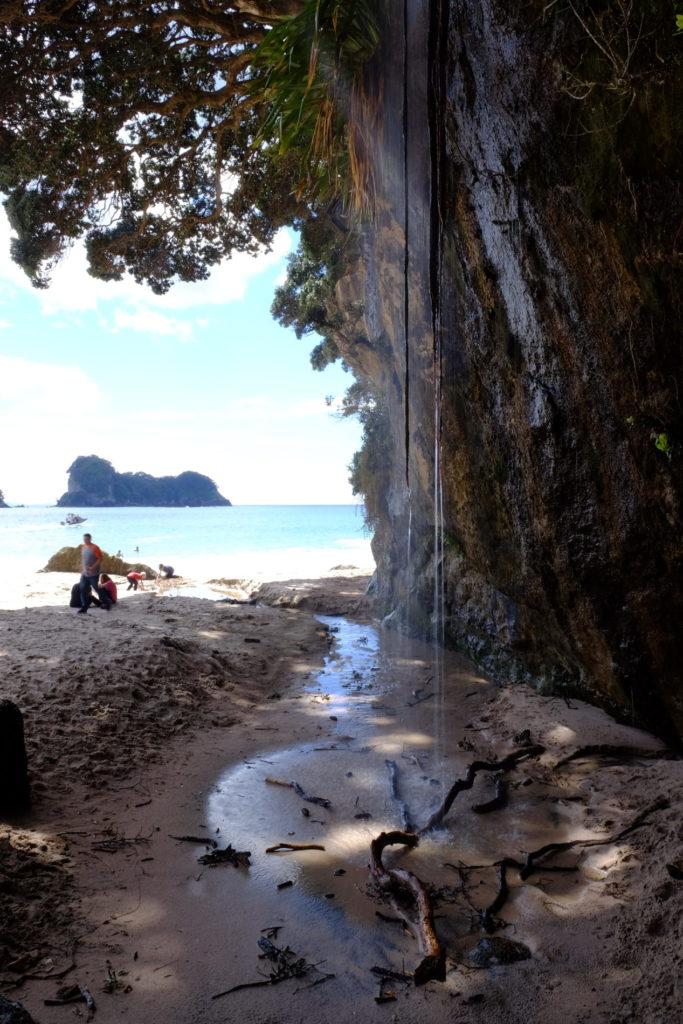 přírodní sprcha na pláži