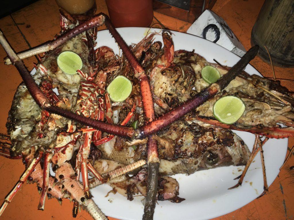vypadá to jak uvařený vetřelec, ale je to humr, obří kreveta, ryba, malé krevetky a kalamáry. Velká bašta.